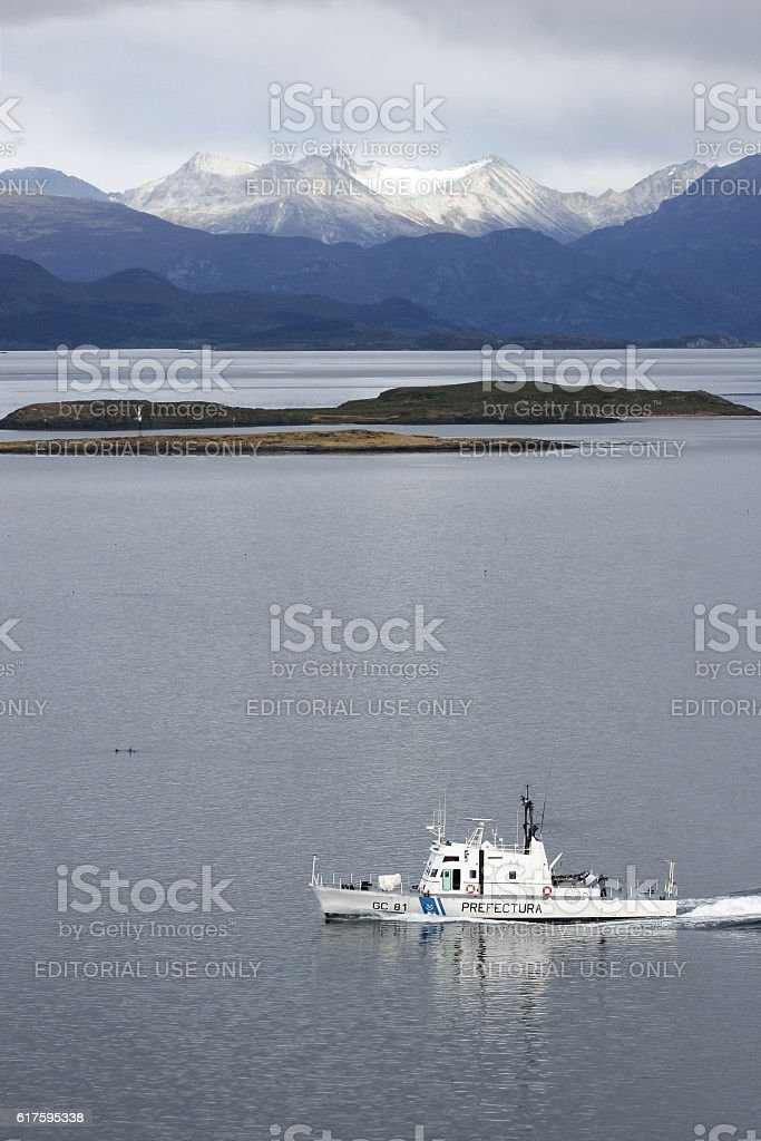 Naval boat in Beagle Channel stock photo