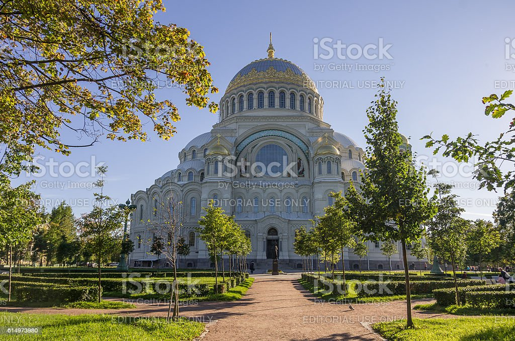 Naval Cathedral of St. Nicholasin Kronstadt at Sunny day ,Russia stock photo