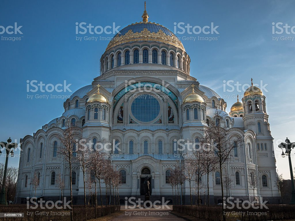 Naval cathedral Saint Nicholas in Kronstadt stock photo