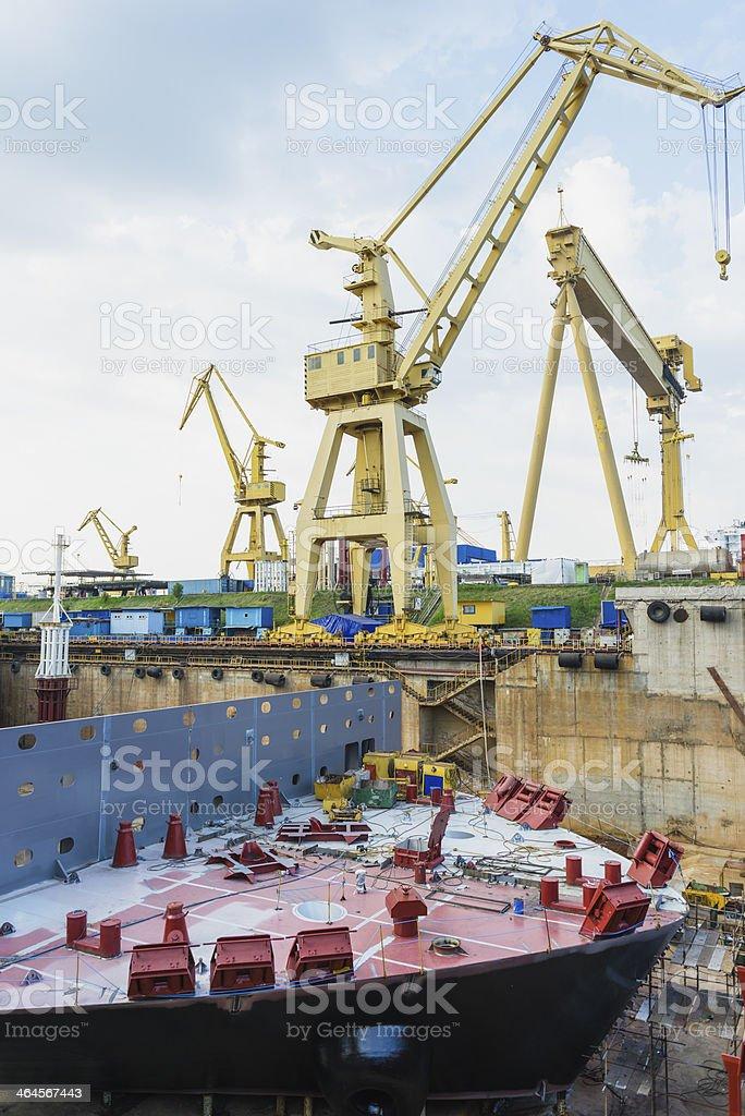Naval construction shipyard stock photo