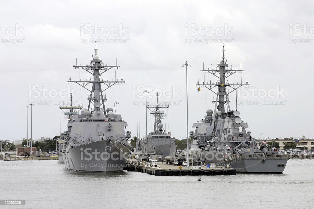 Naval Destroyers at Port stock photo