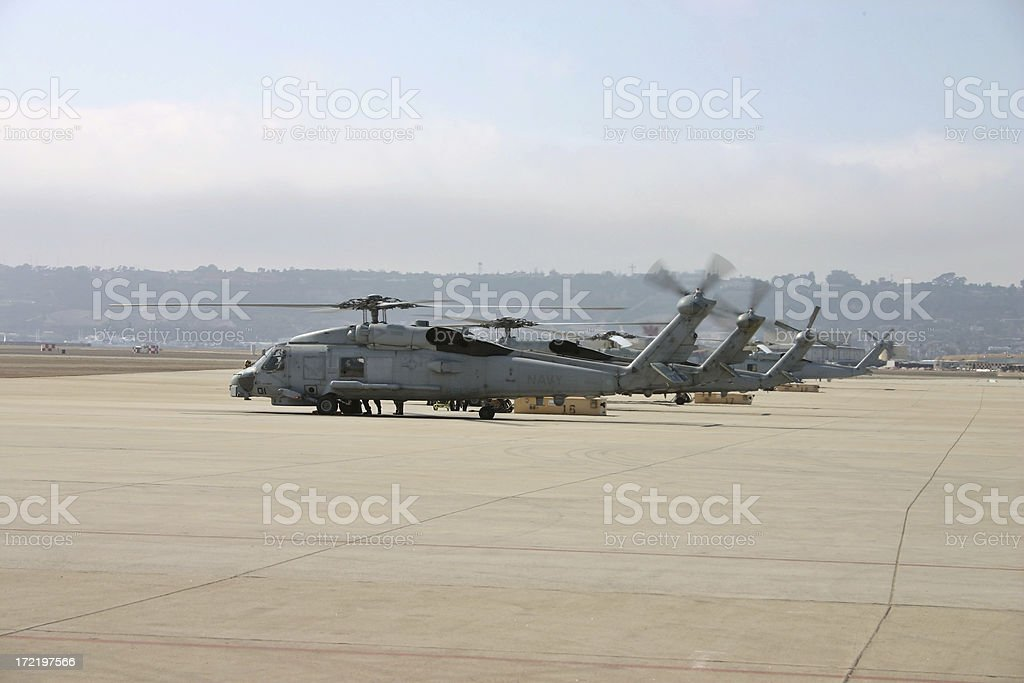 Naval helicopters prep for mission royalty-free stock photo