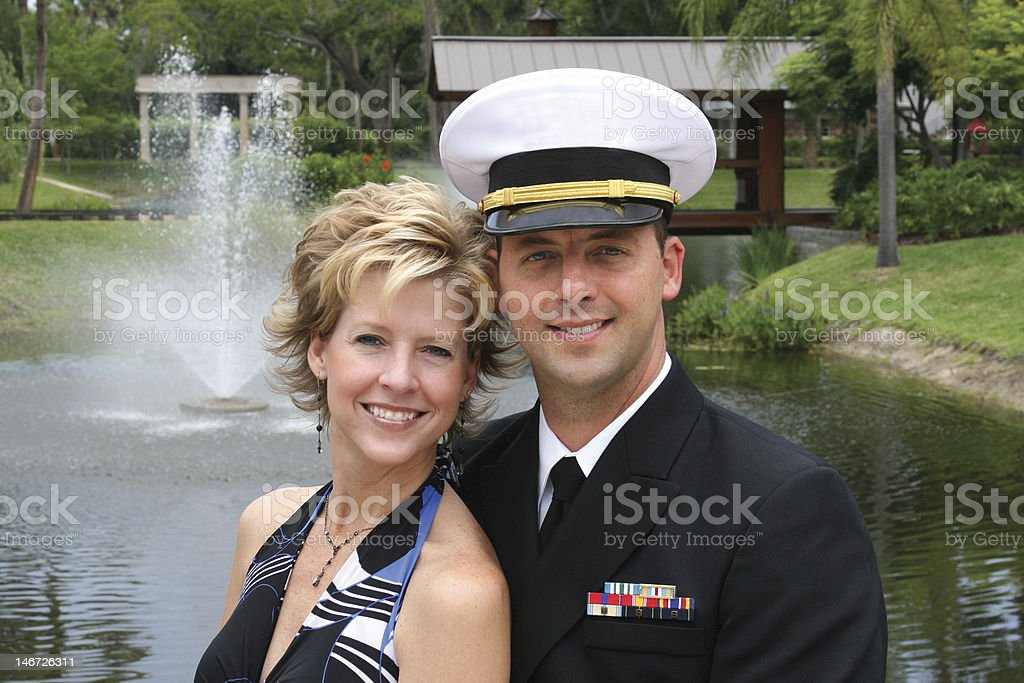 Naval Officer & Woman Smiling stock photo