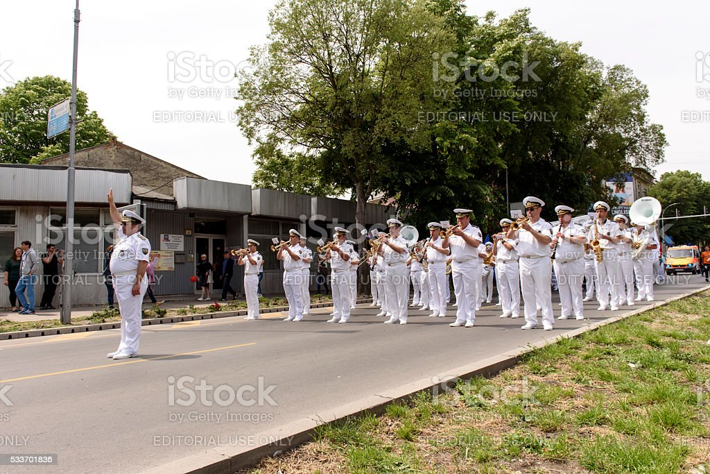 Naval Orchestra on street stock photo