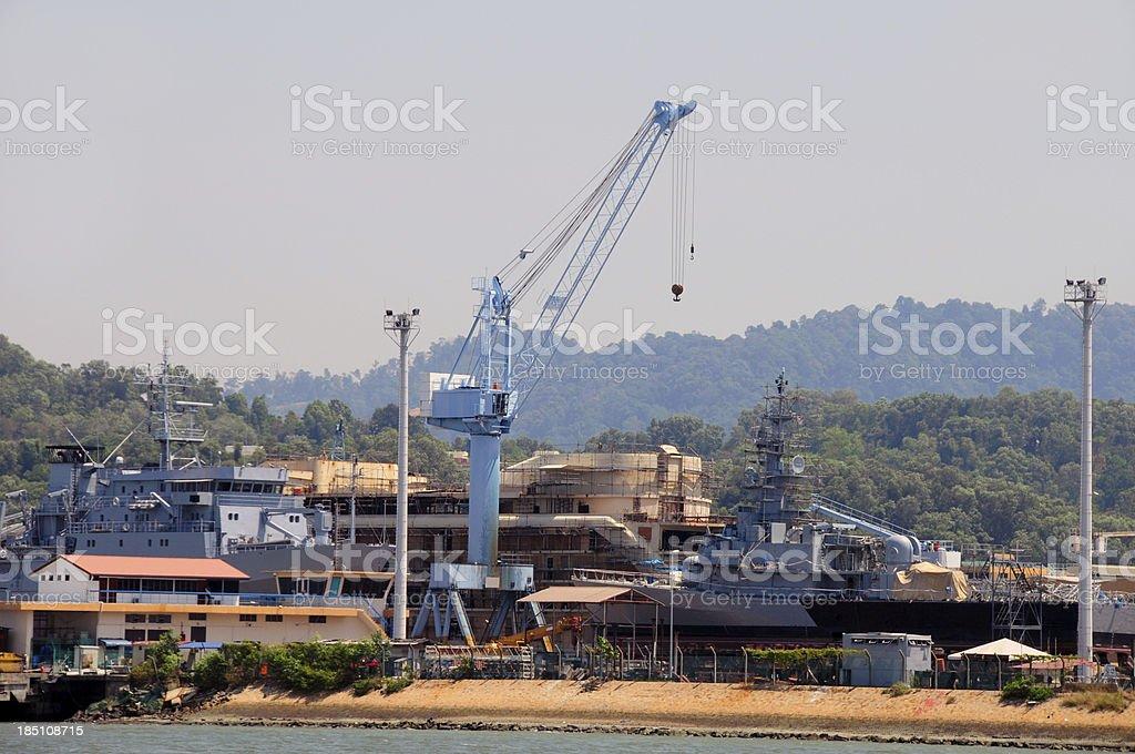 Naval shipyard stock photo