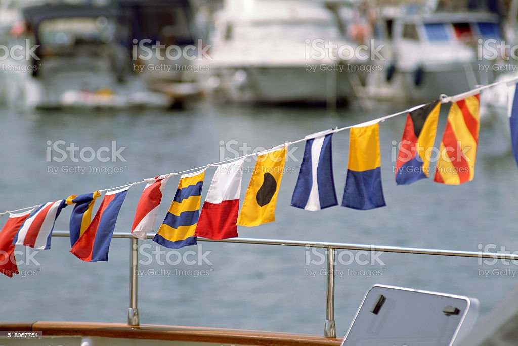 Naval signal flags stock photo
