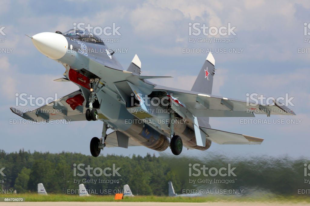 Naval SU-30SM jet fighter takes off at Kubinka air force base, Moscow region, Russia. stock photo