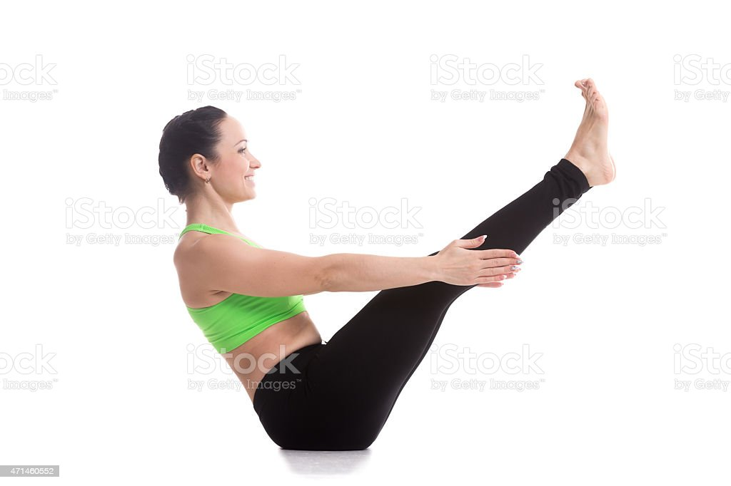 Navasana yoga Pose stock photo