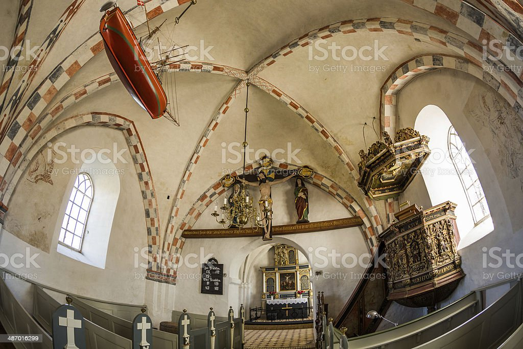 Nave, Pulpit, Chancel and altar of Orø church royalty-free stock photo
