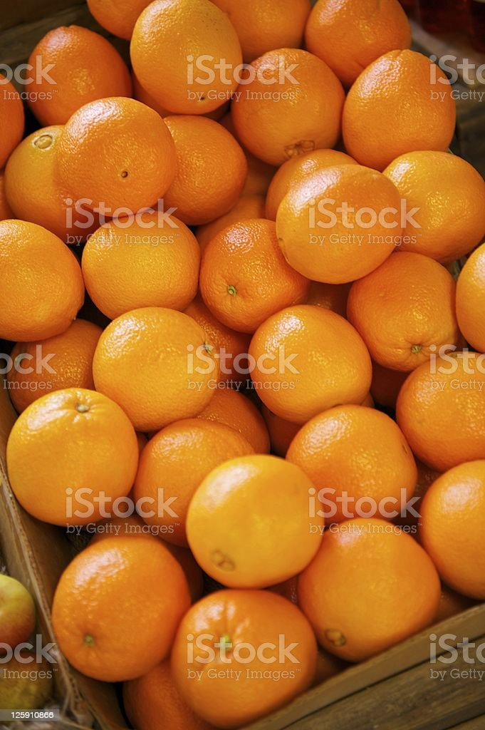 Navel Oranges in a crate stock photo