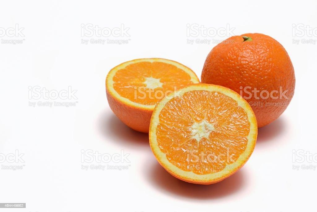 Navel oranges  on white background stock photo