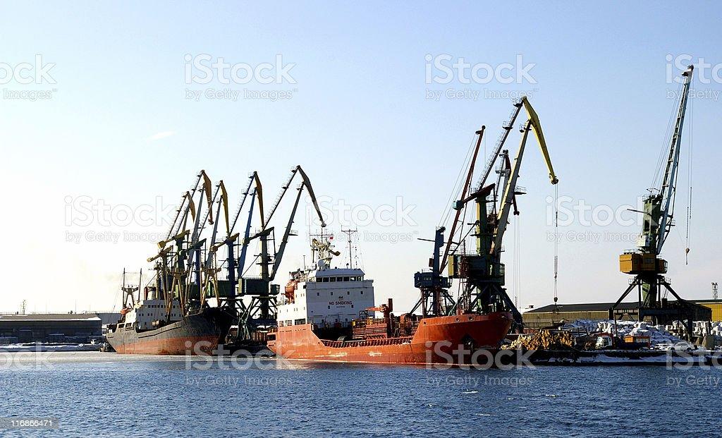 Naves in port stock photo