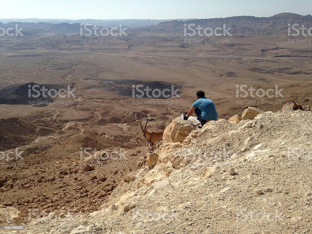 Navigate in the desert stock photo