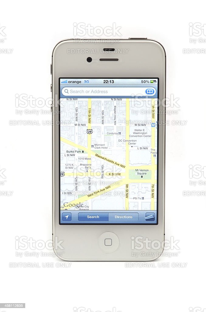 Navigate with iPhone 4S stock photo