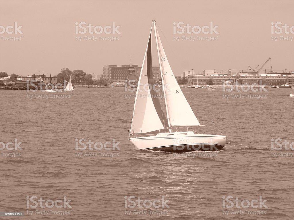 Navigating Boston Harbor royalty-free stock photo