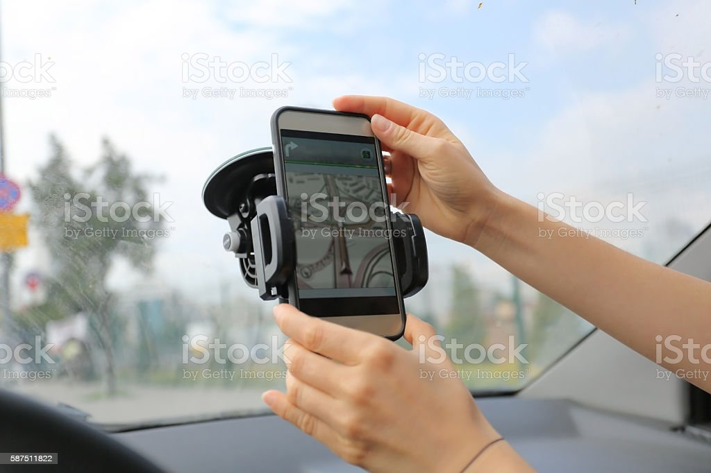 Navigation device in the car stock photo