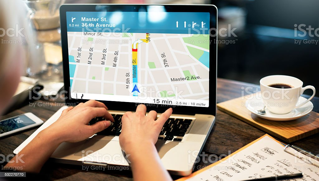 GPS Navigation Directions Location Map Concept stock photo