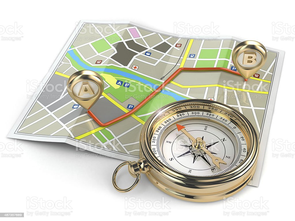 Navigation  gps concept. Compass and map. stock photo
