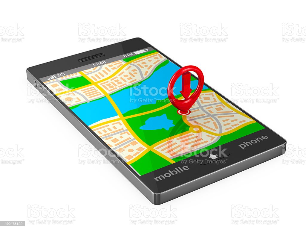 Navigation in phone. Isolated 3D image stock photo