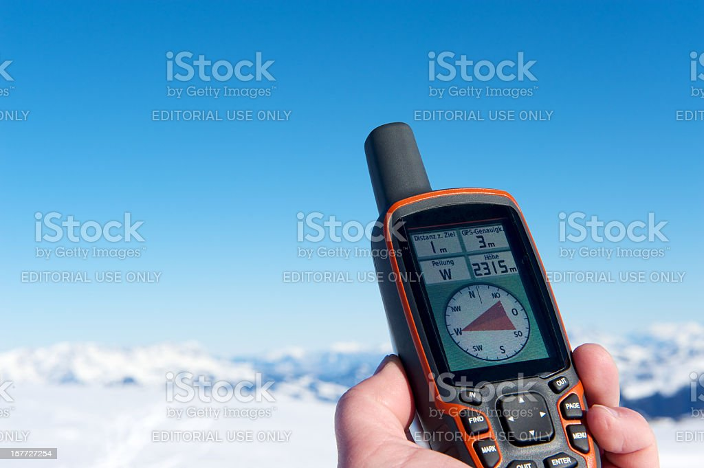 GPS navigation in the mountains stock photo