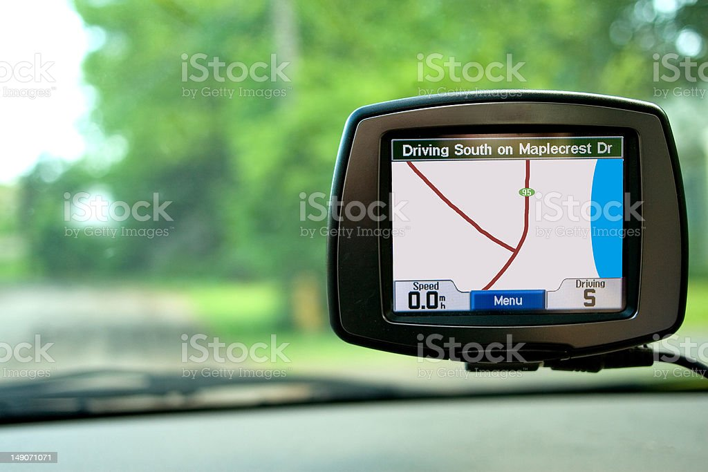GPS Navigation in Travelling Car royalty-free stock photo