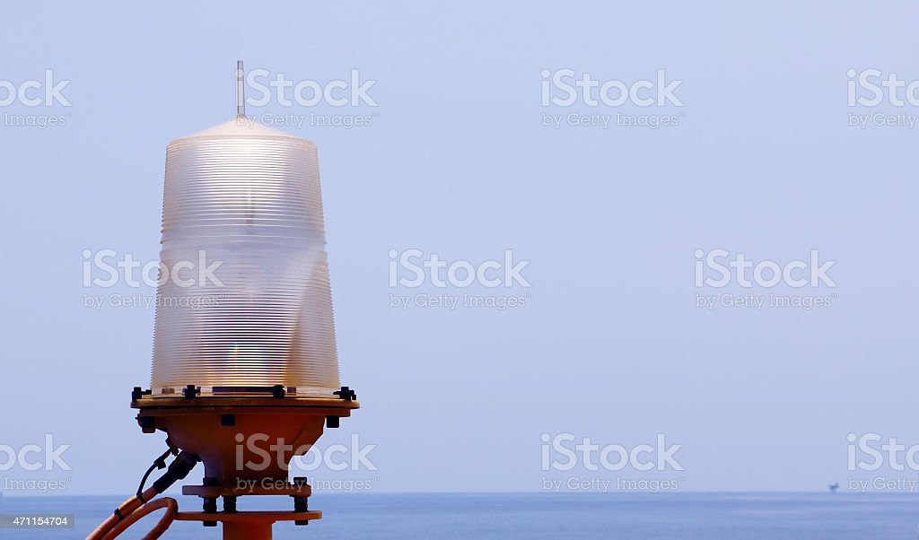 Navigation Lamp at Offshore Oil&Gas stock photo