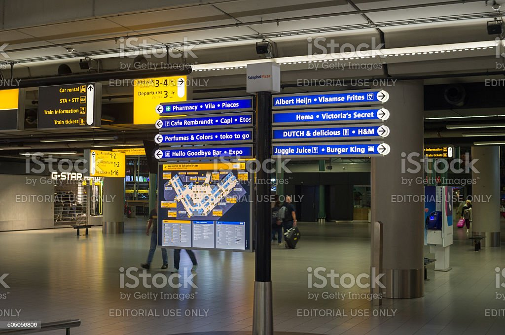 Navigation Map and Board at Amsterdam Schiphol Airport stock photo