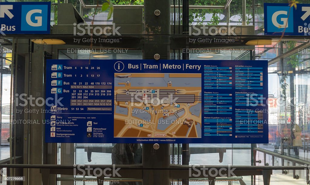 Navigation Map and Information Board at Amsterdam Train Station stock photo