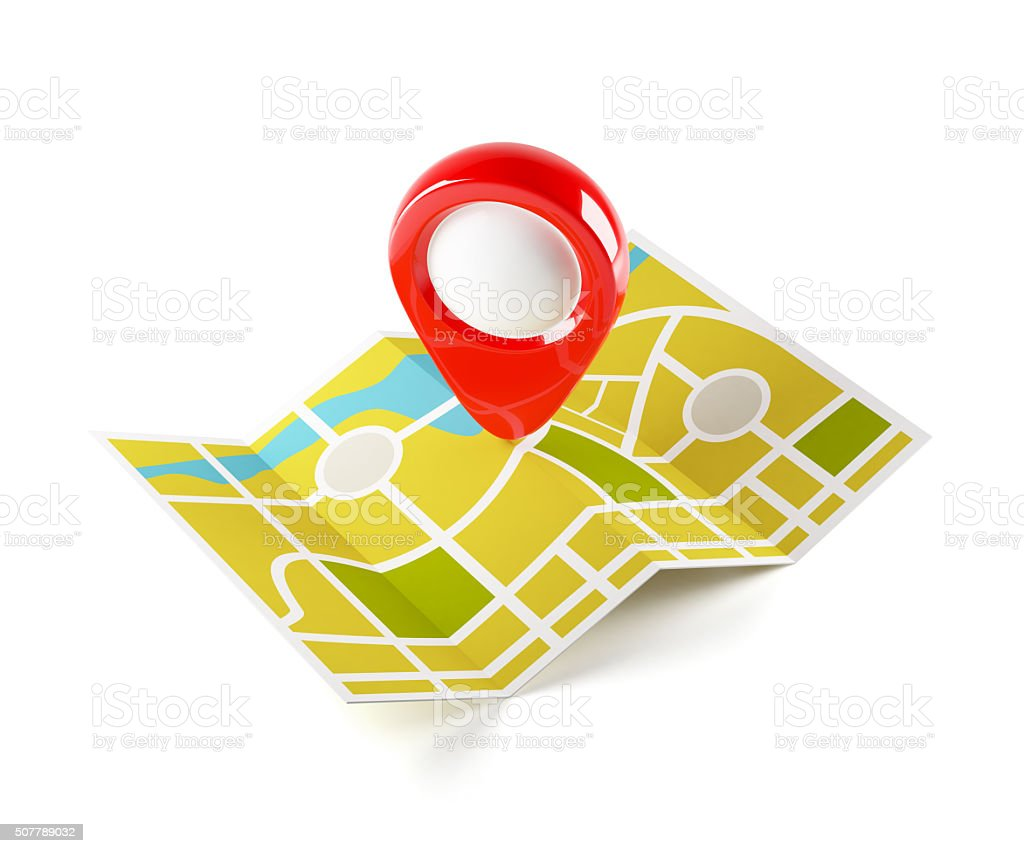 Navigation map with guide point stock photo