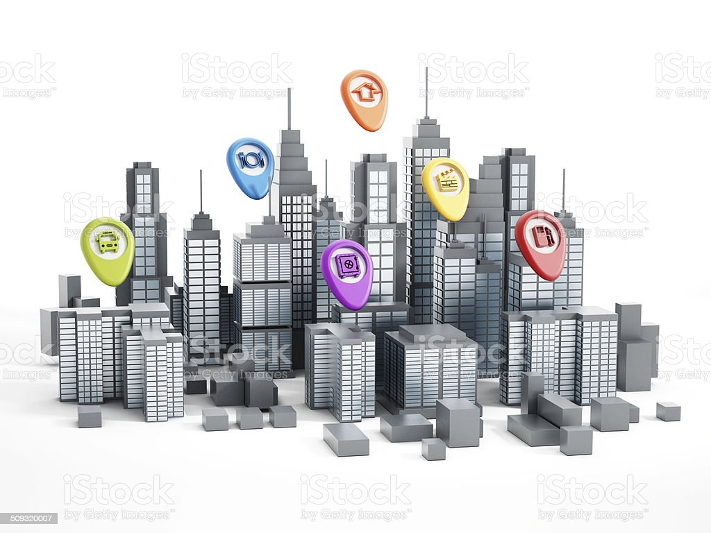 Navigation markers on city buildings stock photo