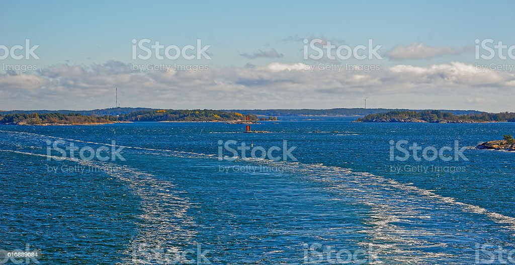 Navigation marks in the Turku archipelago stock photo
