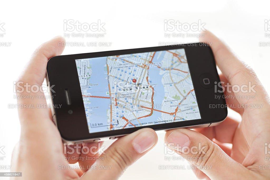 Navigation on iPhone 4 stock photo