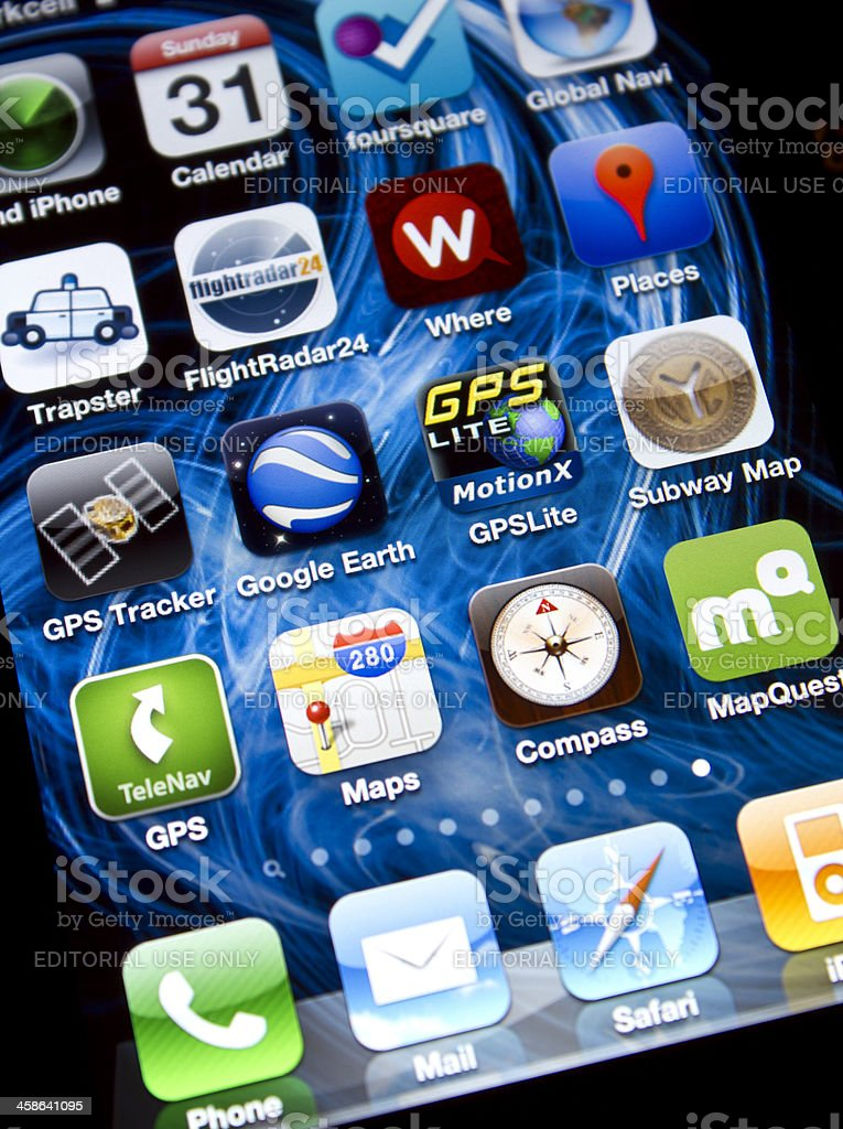 Navigation on Iphone stock photo