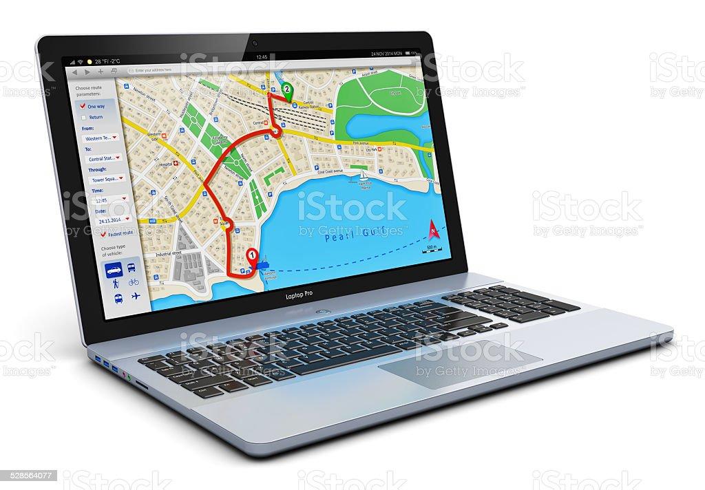 GPS navigation on laptop stock photo