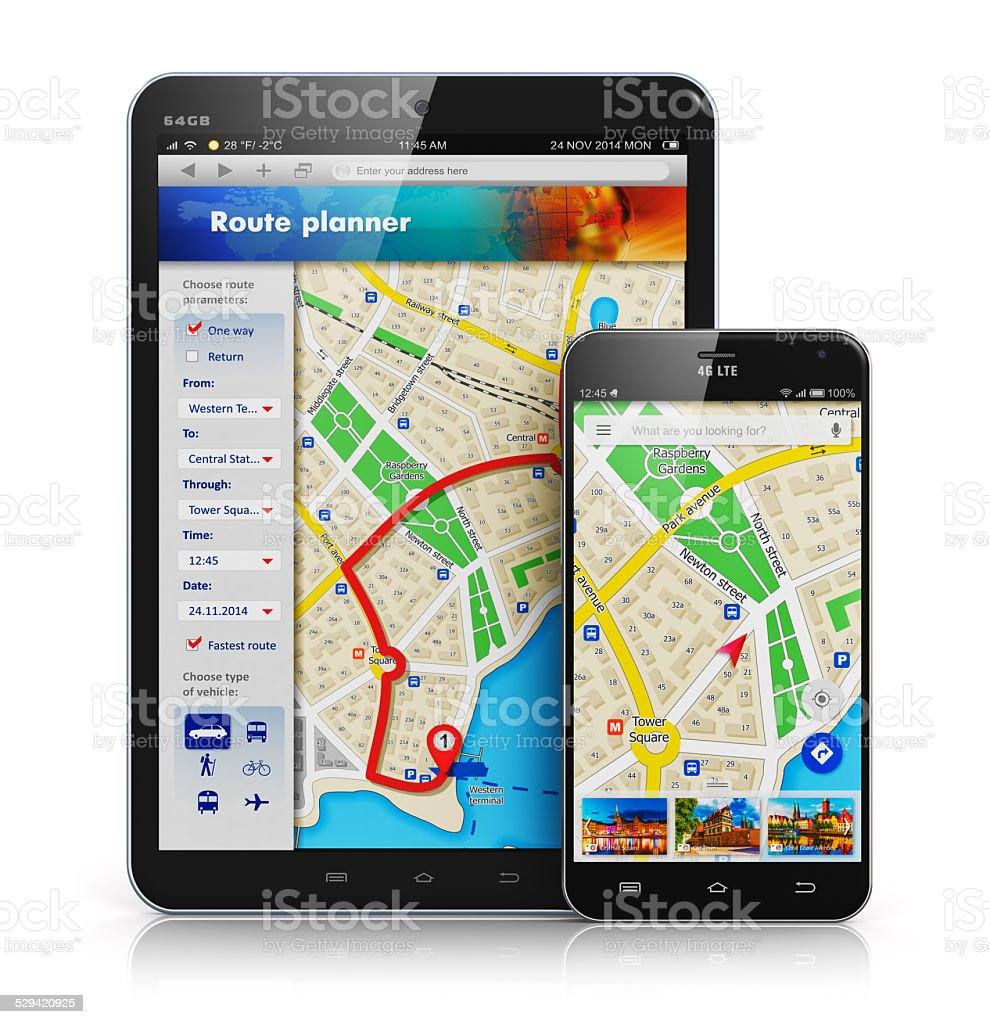 GPS navigation on mobile devices stock photo
