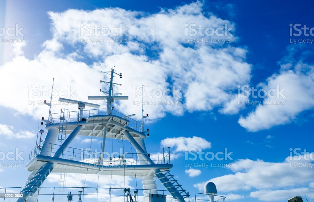 Navigation radar on luxury cruise stock photo