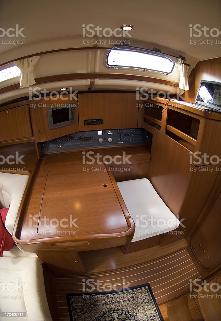 Navigation Station of a luxury sail boat royalty-free stock photo
