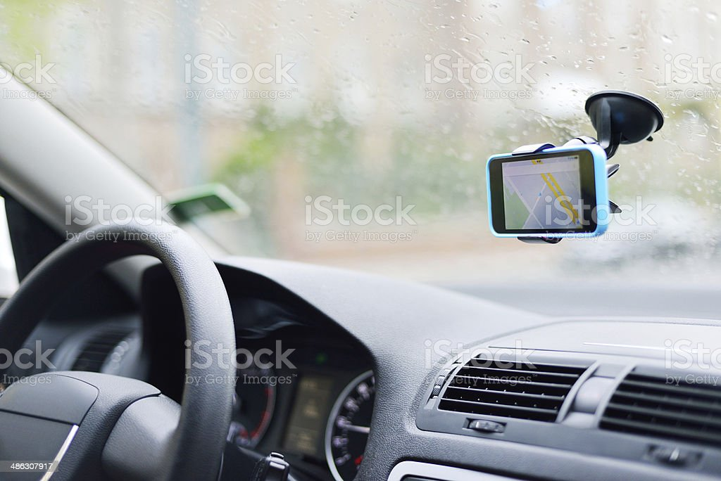 Navigation system on the windshield stock photo