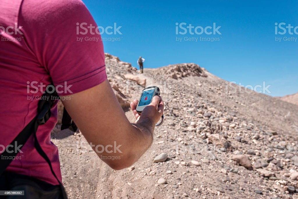 Navigation trekking hill stock photo