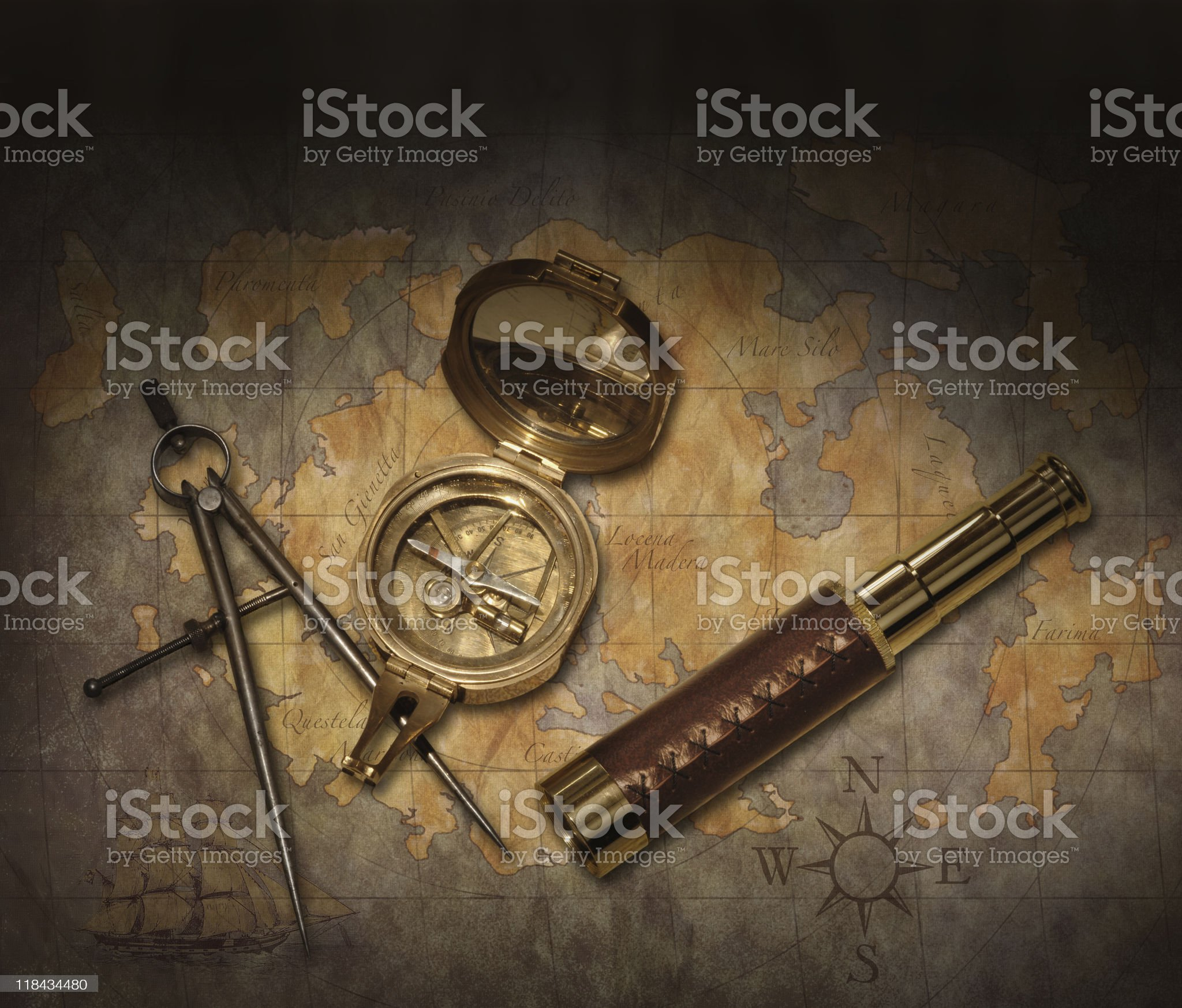 Navigational tool set on a rustic table royalty-free stock photo