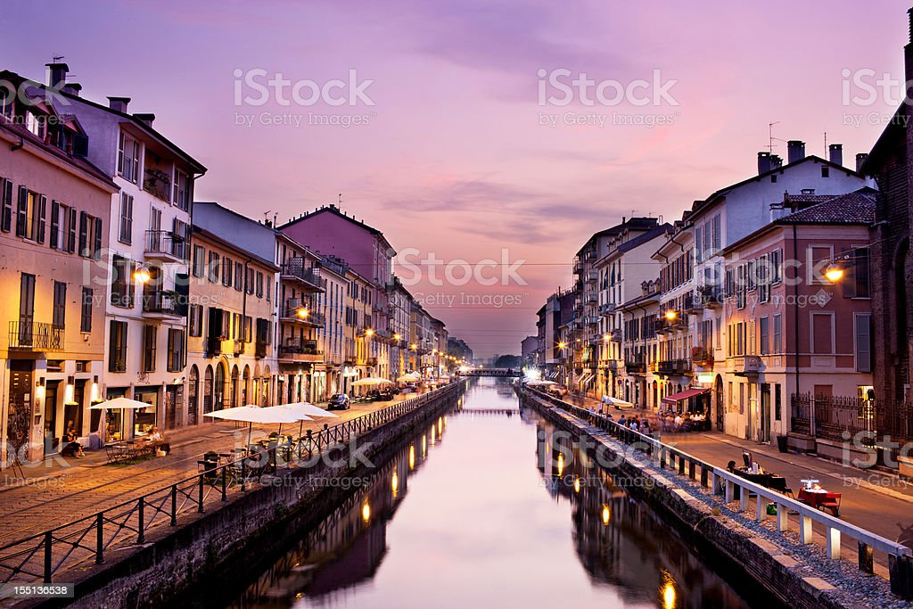 Naviglio Grande at dusk stock photo