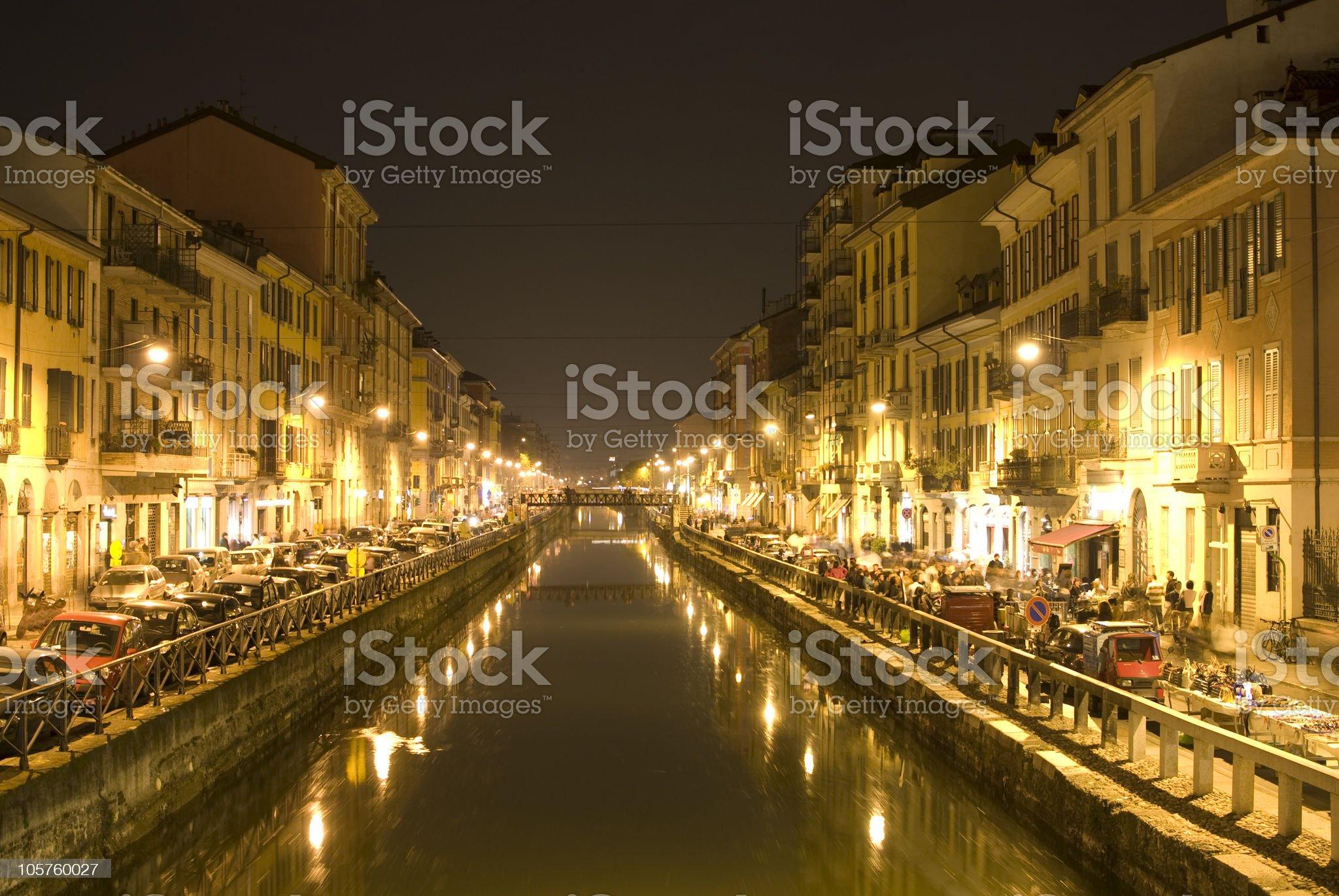 Naviglio Grande at night - Milano royalty-free stock photo