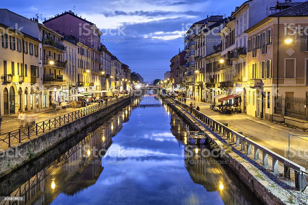 Naviglio Grande canal in the evening, Milan stock photo