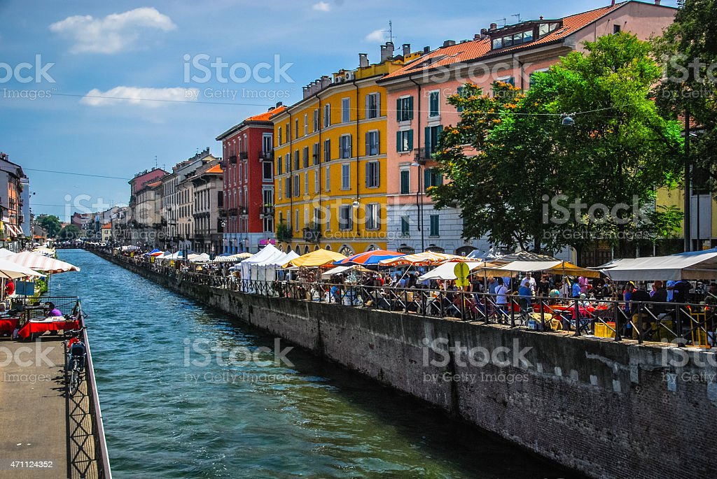 Naviglio Grande - Milan, Italy stock photo