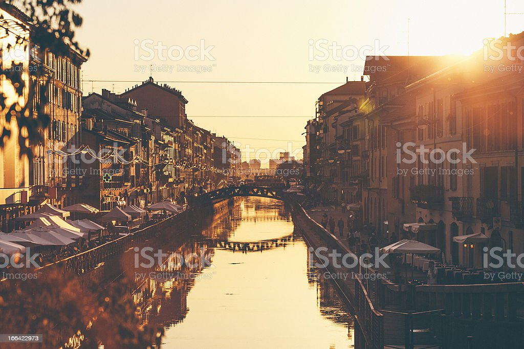 Naviglio Grande Sunset. royalty-free stock photo