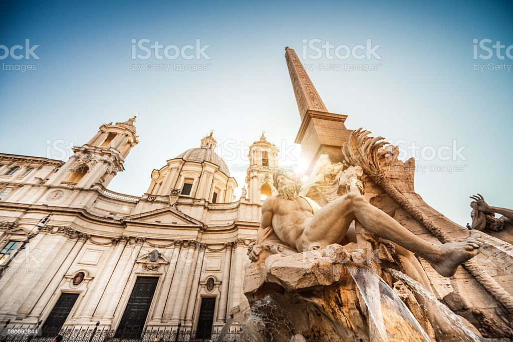 Navona Square in Rome city center stock photo