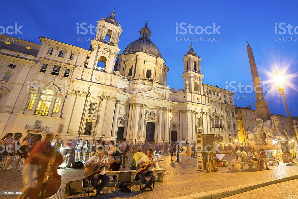 Navona square in Rome, Italy. stock photo