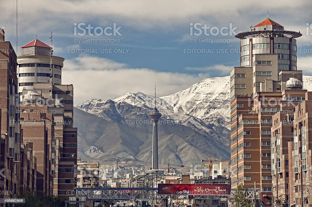 Navvab Buildings on Both Sides of Tohid Tunnel in Tehran stock photo