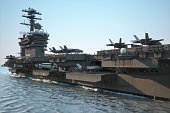 Navy aircraft carrier with a large compartment of aircraft and crew.