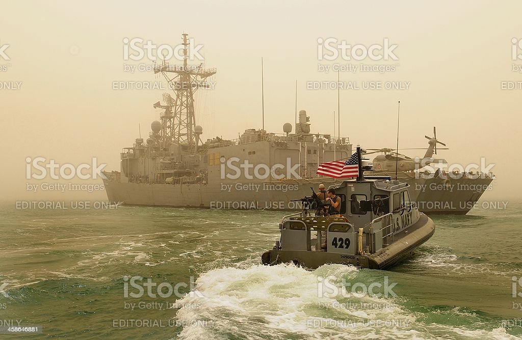 US Navy Anti Piracy Ops in Arabian Gulf stock photo